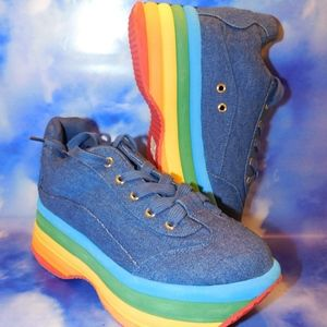 Jeffrey Campbell Denim Rainbow Platform Sneaker